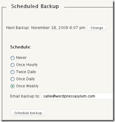 Scheduling backups in WP-DB-Backup