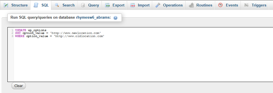 find replace SQL query in phpMyAdmin