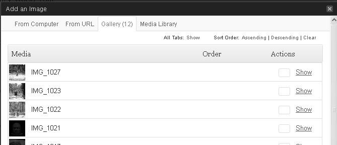Gallery tab