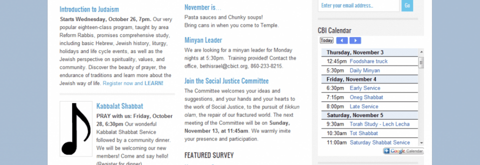 Congregation Beth Israel Home Page 2011-11-03