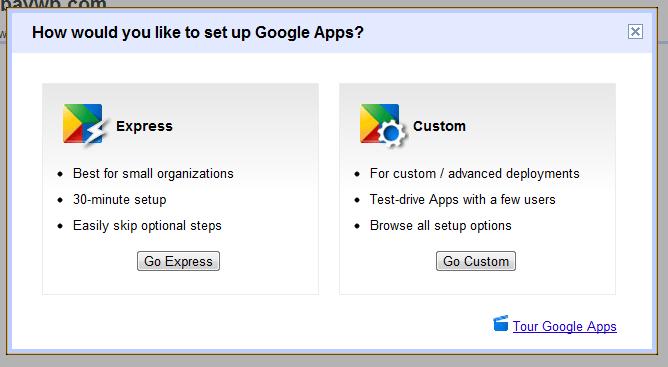 Go Express Google Apps setup