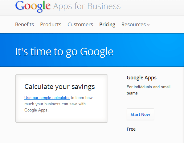 Google Apps pricing page (in 2012)