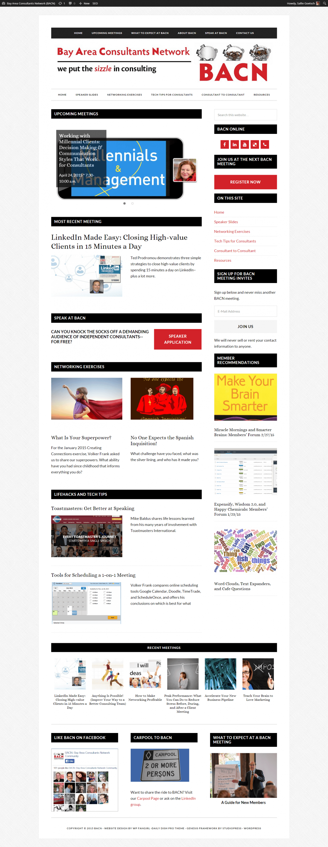 BACN Home Page (Daily Dish Pro Theme), March 2015