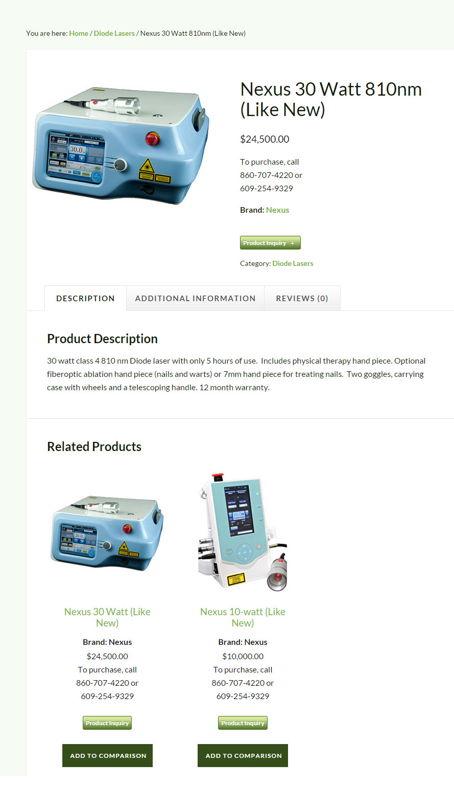 Used Laser Center Single Product Page