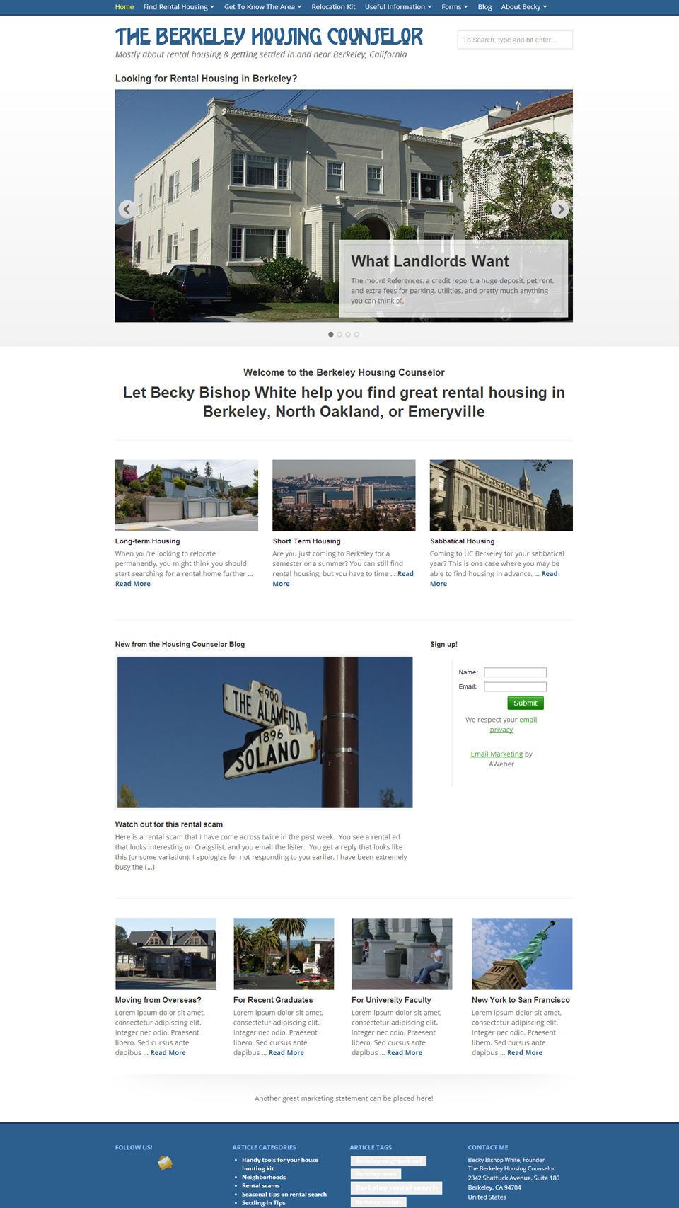 Berkeley Housing Counselor Home Page Screenshot