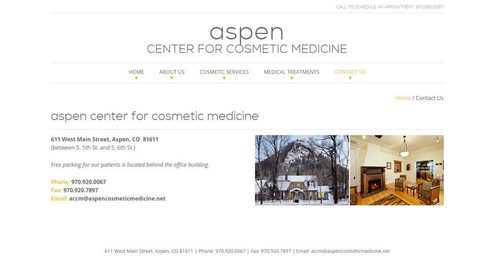 screenshot: Aspen Center for Cosmetic Medicine Contact Page
