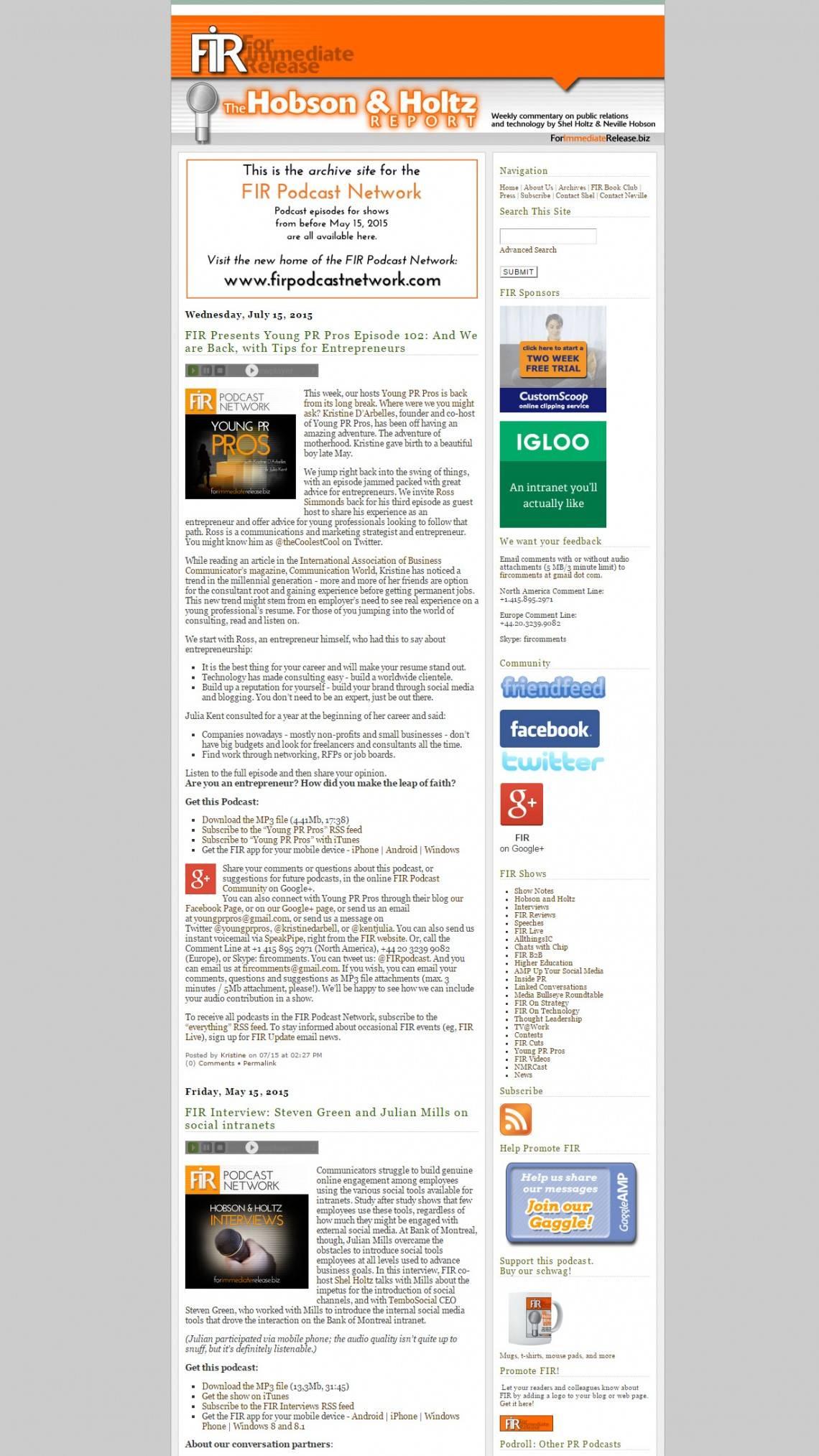 Original forimmediaterelease.biz site built in Expression Engine