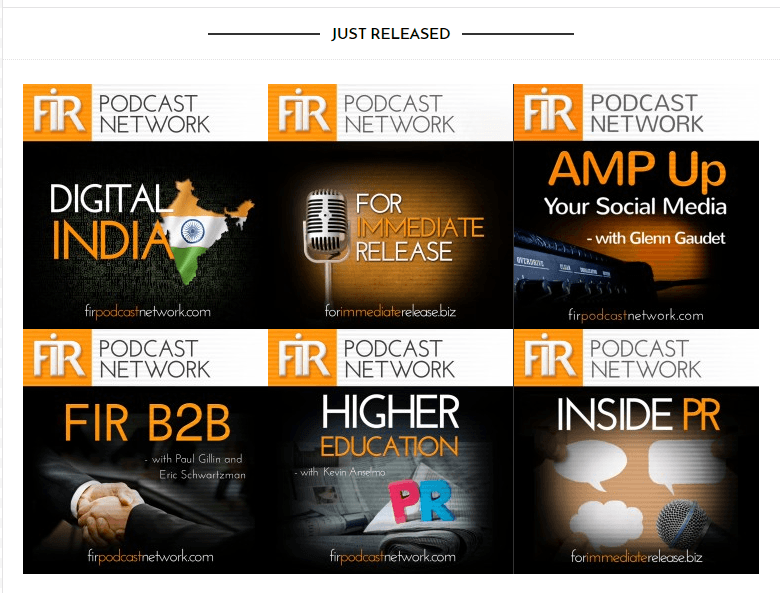 Screenshot: Just Released section of FIR Podcast Network Home Page