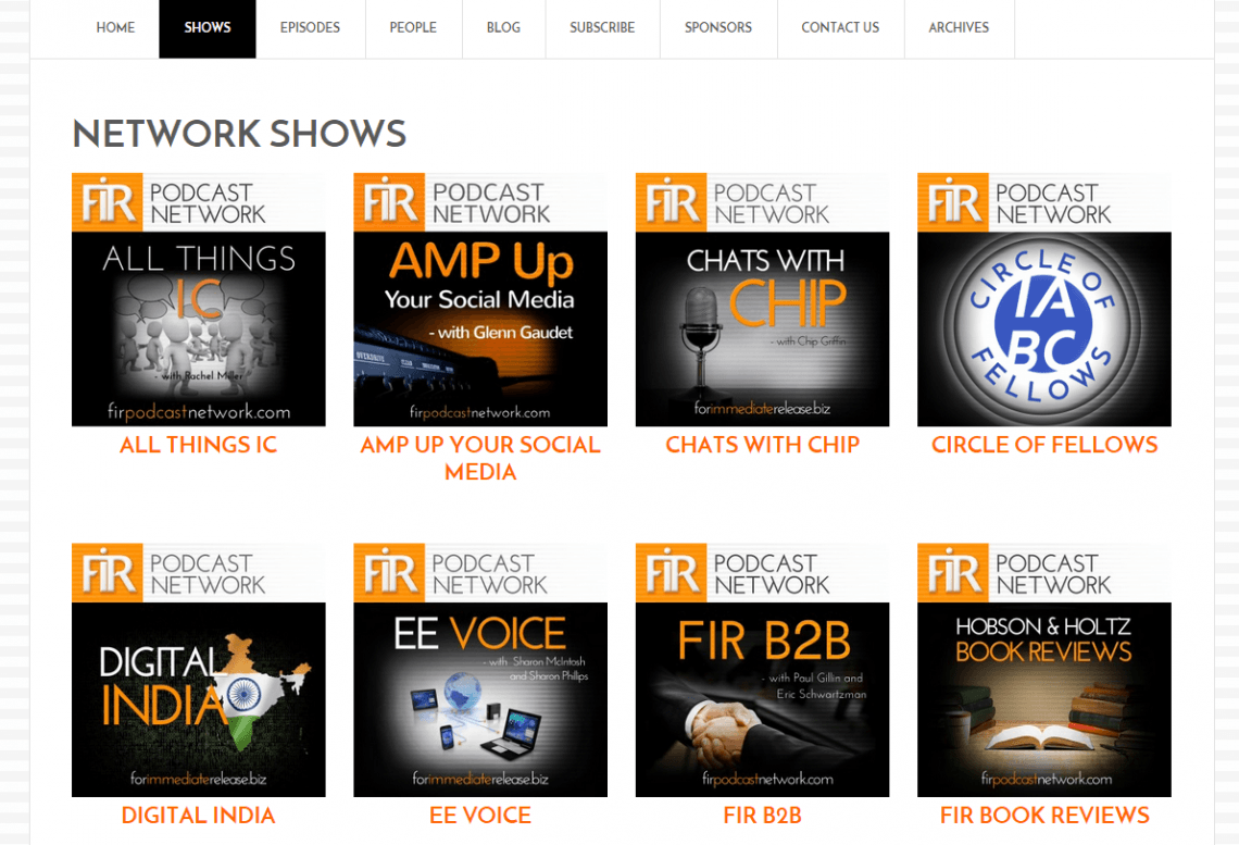 FIR Podcast Network Shows Page