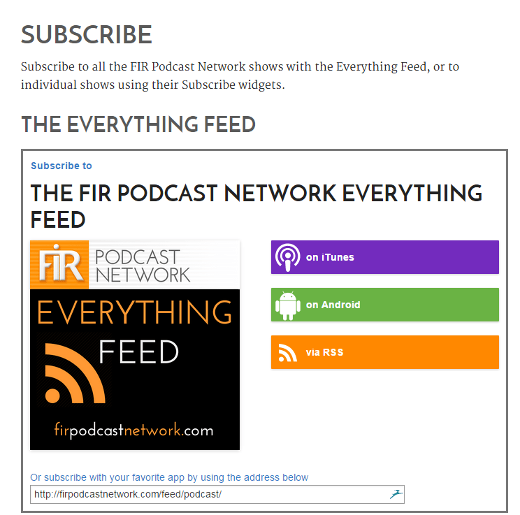 FIR Podcast Network Subscribe page