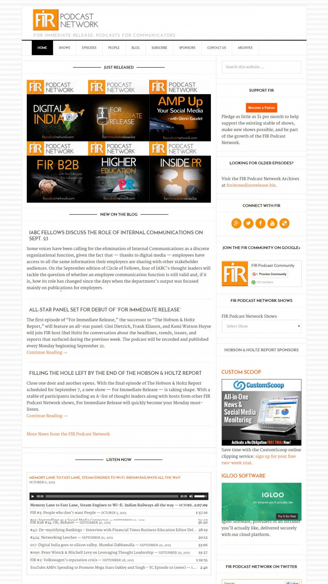 FIR Podcast Network Home Page