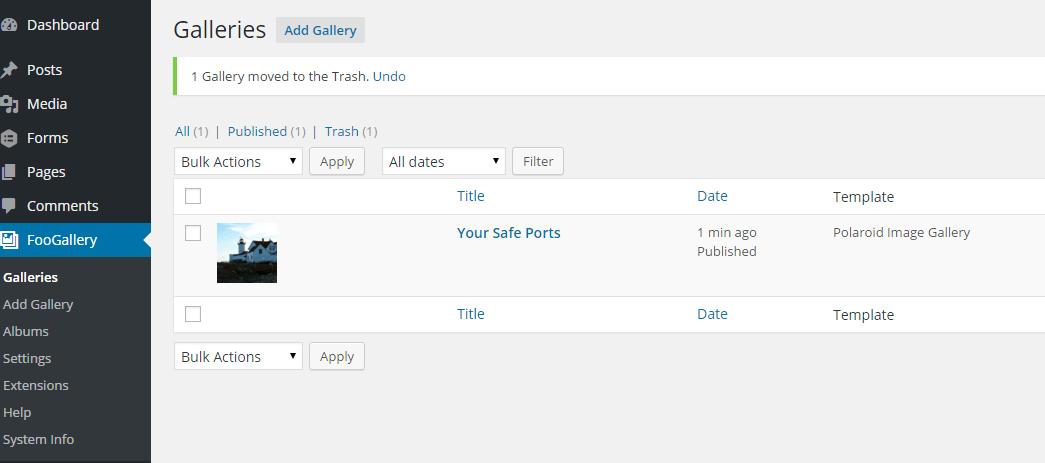 Foo Gallery galleries admin page