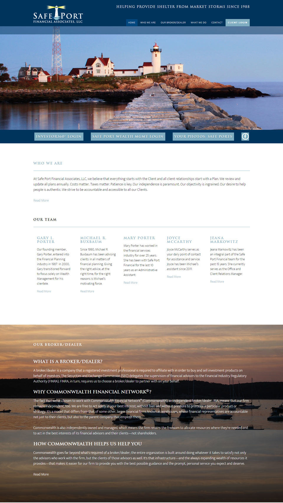 Safe Port Financial Associates home page (detail)