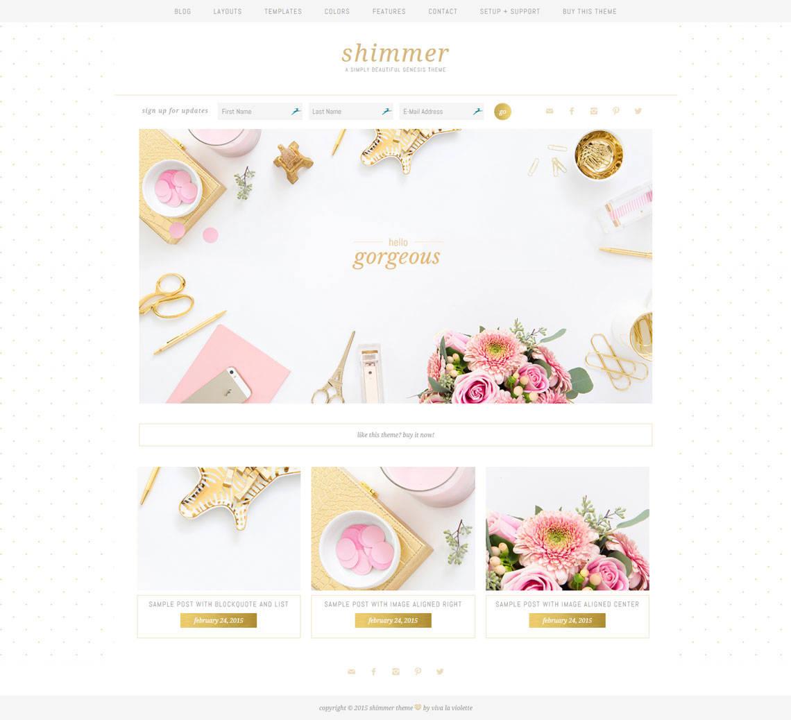 Shimmer Theme Demo Screenshot
