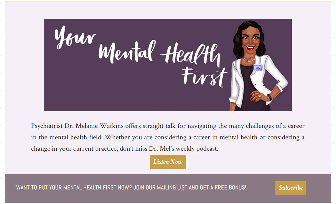 screenshot: Your Mental Health First home welcome widget area and horizontal opt-in widget