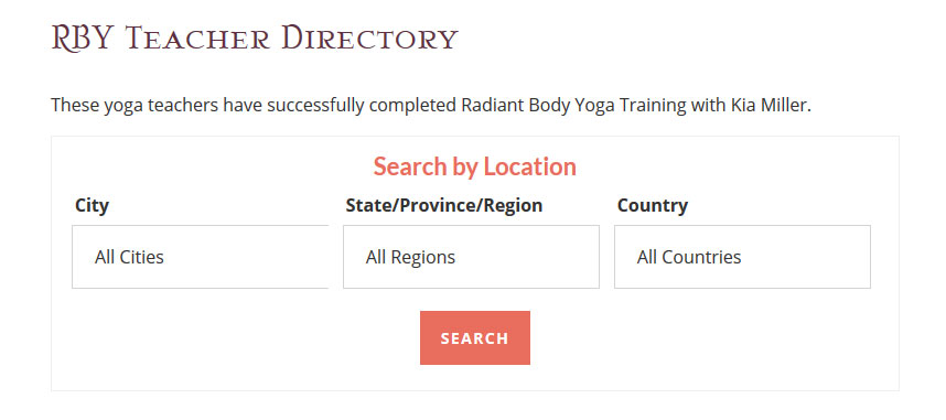 Ultimate WP Query Search Filters search box for yoga teacher directory