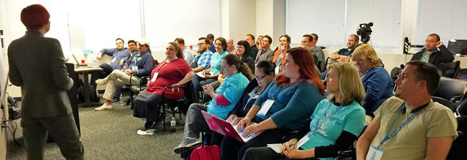 Sallie Goetsch presenting at WordCamp Sacramento 2015. Photo by Jennifer Bourn