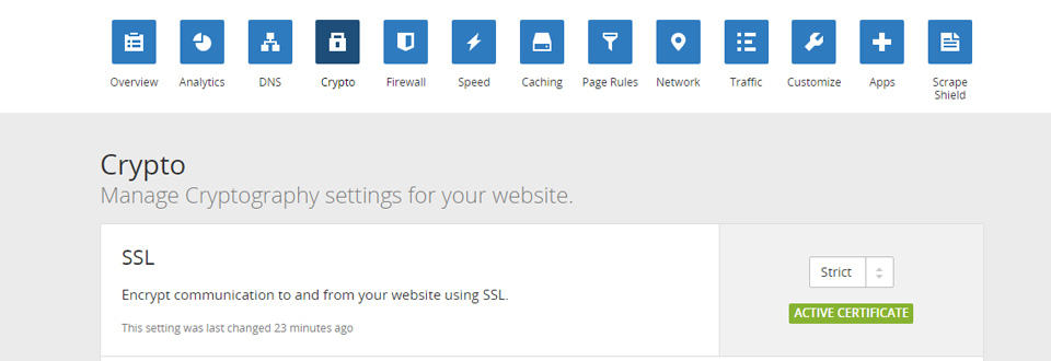 screenshot of CloudFlare's Crypto page with SSL set to strict