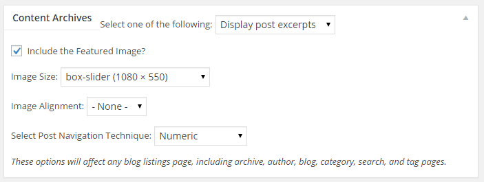 Genesis theme settings for featured images