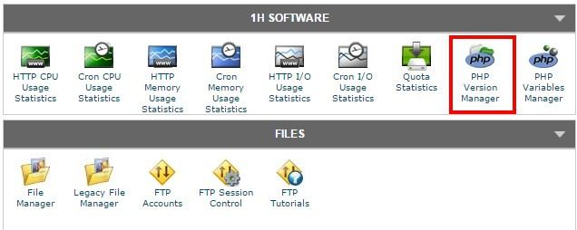 cPanel showing PHP Version Manager