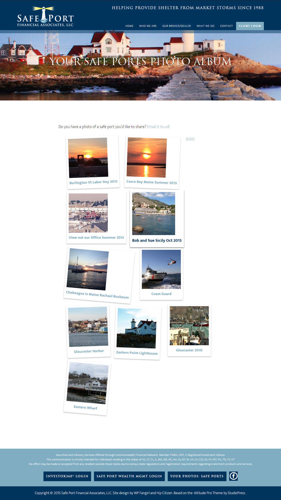 Your Safe Ports photo album with Polaroid effect