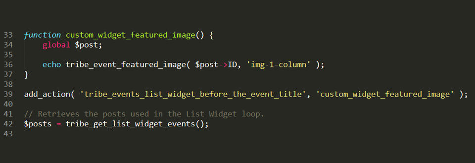 code for adding featured images to Modern Tribe event list