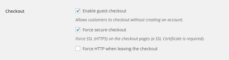 WooCommerce Settings: Force SSL