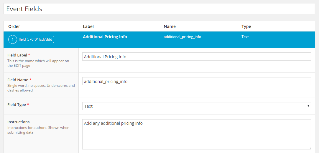 Pricing info field in ACF