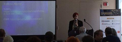 Sallie Goetsch speaking at WordCamp Sacramento 2016. Photo by John Locke.