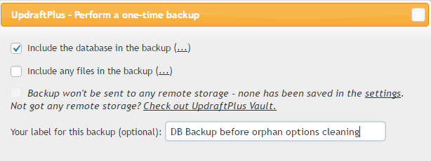 Updraft Plus backup of WordPress database before cleaning up options with Advanced Database Cleaner