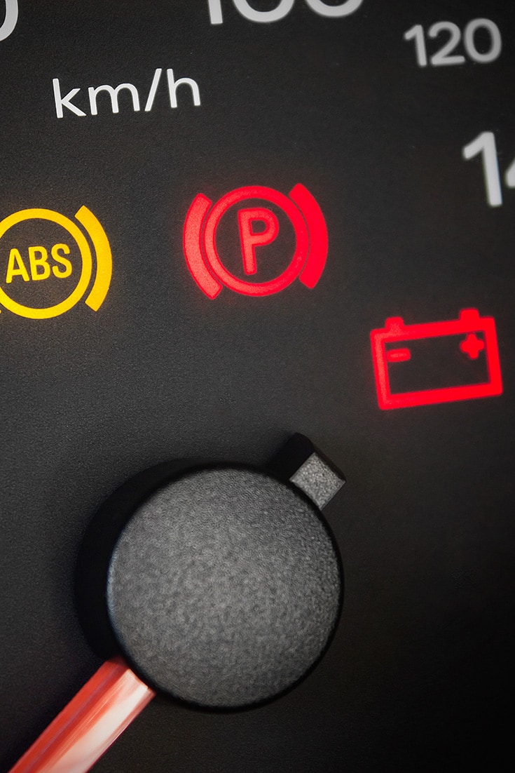 Detail of automobile dashboard warning lights
