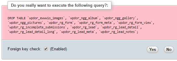 phpMyAdmin prompt to confirm drop tables