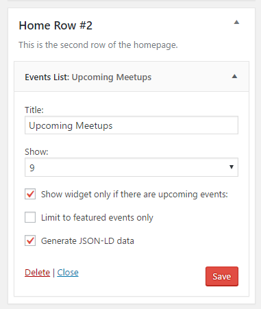 Settings for the Events List widget for The Events Calendar