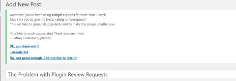 Widget Options plugin review nag
