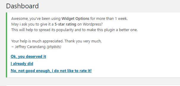 Widget Options Nag Message