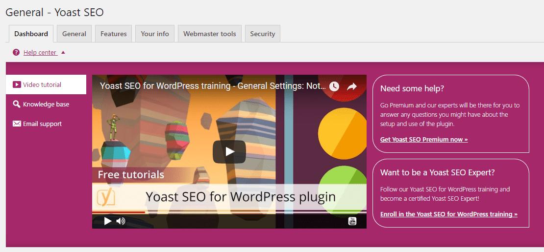 Yoast SEO plugin welcome screen with upsells