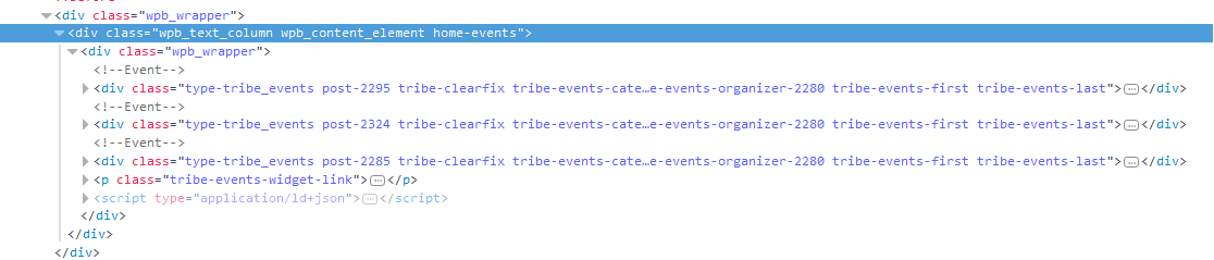 HTML output by Events Calendar Pro Widget Shortcode