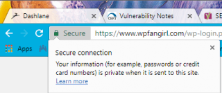"Chrome shows the word ""secure"" next to the green lock for HTTPS. Clicking it shows ""Secure connection"""