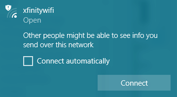 Windows 10 warning about connecting to an open WiFi network