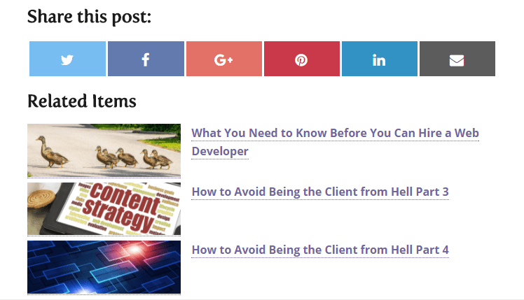 Related post list using featured small image size