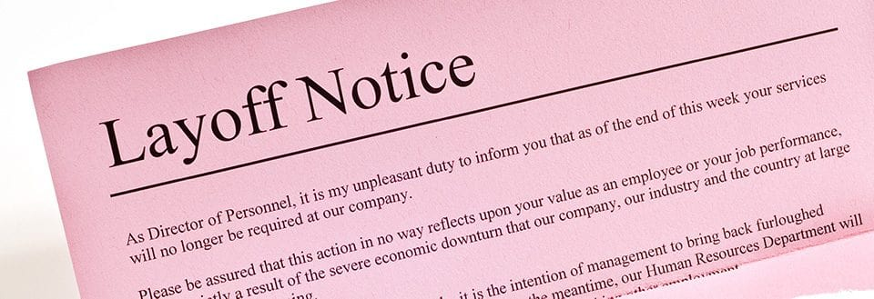 pink slip (layoff notice) stock photo