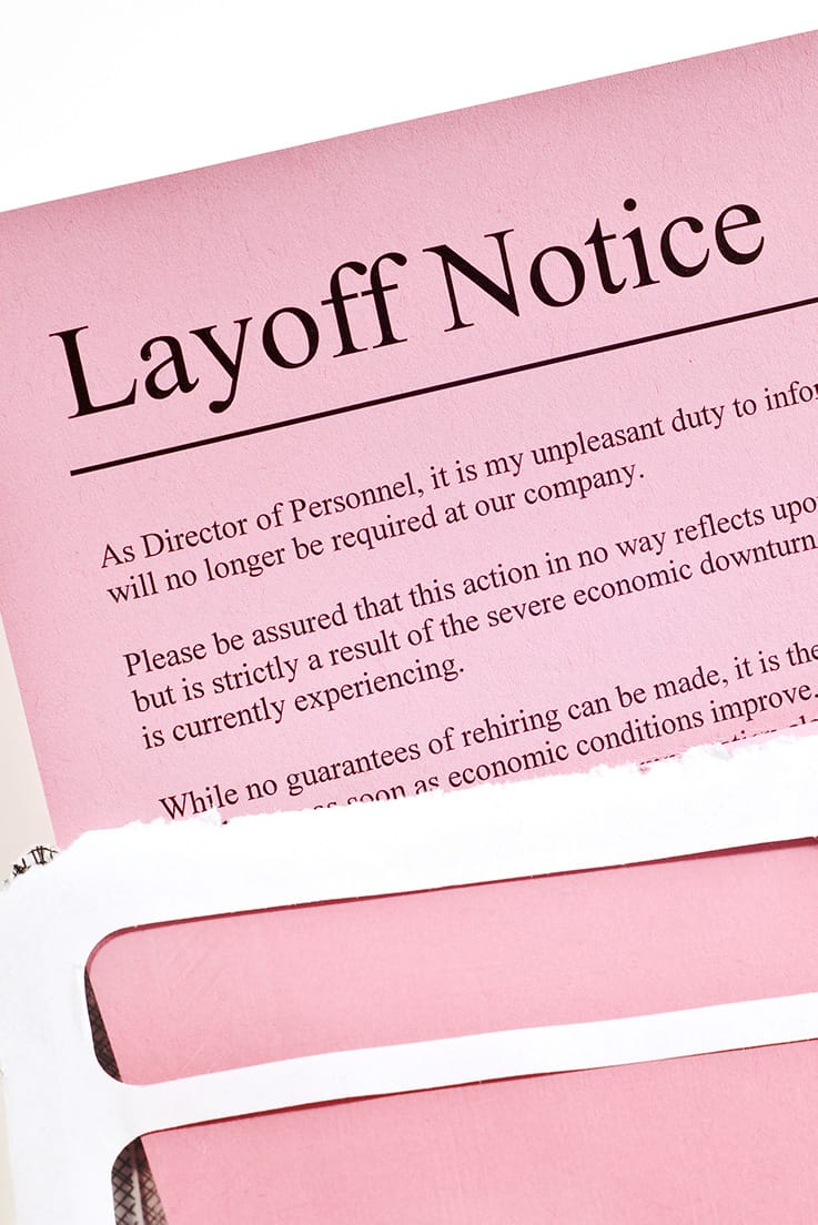 pink slip (layoff notice) stock photo